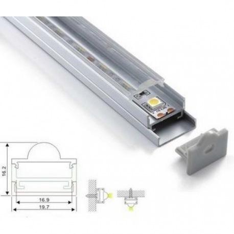 Алуминиев профил за led лента 2м. с прозрачен разсейвател